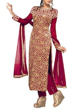 Red Brasso Embroidered Velvet Semi Stitched Straight Suit Set - Fabfiza