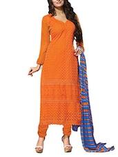 Orange Embroidered Georgette Semi Stitched Churidar Suit Set - Fabfiza