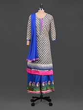 Beige Printed Cotton Suit Set With 2 Lowers - ZANA'S