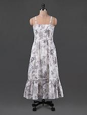 Printed Sleeveless White Maxi Dress - Oxolloxo