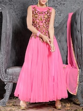 Pink Embroidered Sleeveless Silk Net And Georgette Salwar Suit Set - Fabliva