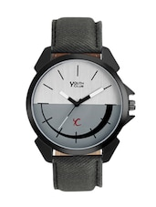 grey color, leatherette analog watch -  online shopping for Men Analog Watches