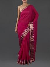 Pink Pure Cotton Saree With Paisley Border - INDI WARDROBE