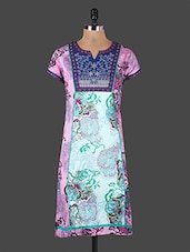 Embroidered Yoke Short Sleeves Printed Cotton Kurta - Rain And Rainbow