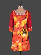 Embroidered Printed Cotton Kurta - Rain And Rainbow