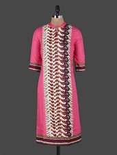 Mandarin Collar Printed Cotton Kurta - Rain And Rainbow