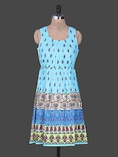 Blue Gather Printed Cotton Kurta - Rain And Rainbow