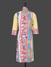 Round Neck Quarter Sleeves Printed Cotton Kurta - Rain And Rainbow