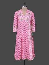 Pink Embroidered Printed Cotton Kurta - Rain And Rainbow