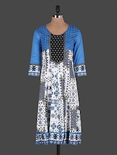 Round Neck Pleated Printed Cotton Kurta - Rain And Rainbow