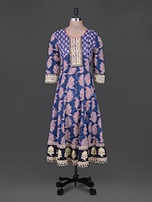 Blue Sequin Work Print Cotton Kurta - Rain And Rainbow