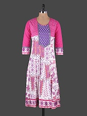 Multicolor Zari Printed Cotton Kurta - Rain And Rainbow