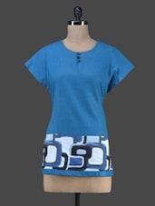 Blue Printed Short Cotton Kurta - Vedanta