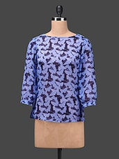 Lilac Butterfly Printed Chiffon Top - By