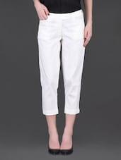 Off-White Cotton Capri Pants - LABEL Ritu Kumar