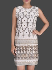 Printed White Sleeveless Dress - LABEL Ritu Kumar