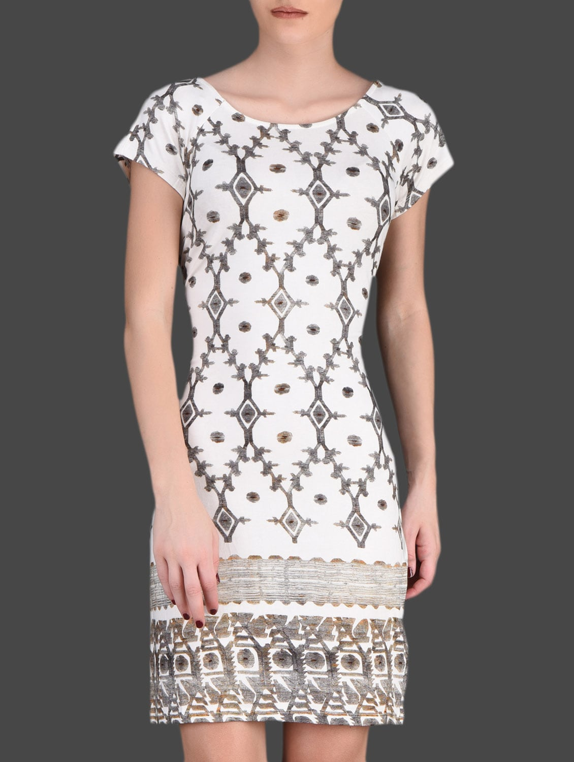 Gold Printed White Dress - LABEL Ritu Kumar
