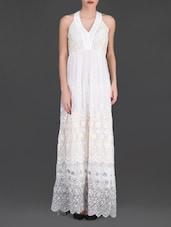 Embroidered White Halter Maxi Dress - LABEL Ritu Kumar
