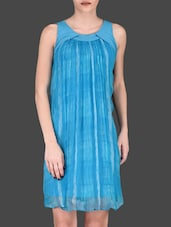 Printed Turquoise Sleeveless Shift Dress - LABEL Ritu Kumar