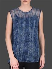 Indigo Printed Sleeveless Viscose Top - LABEL Ritu Kumar