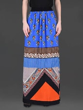 Blue Printed Long Skirt - LABEL Ritu Kumar