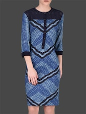 Blue Printed Viscose Dress - LABEL Ritu Kumar