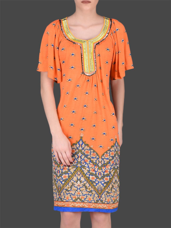 Orange Printed Viscose Dress - LABEL Ritu Kumar