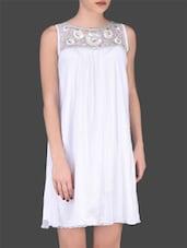 White Nylon Sleeveless Dress - LABEL Ritu Kumar