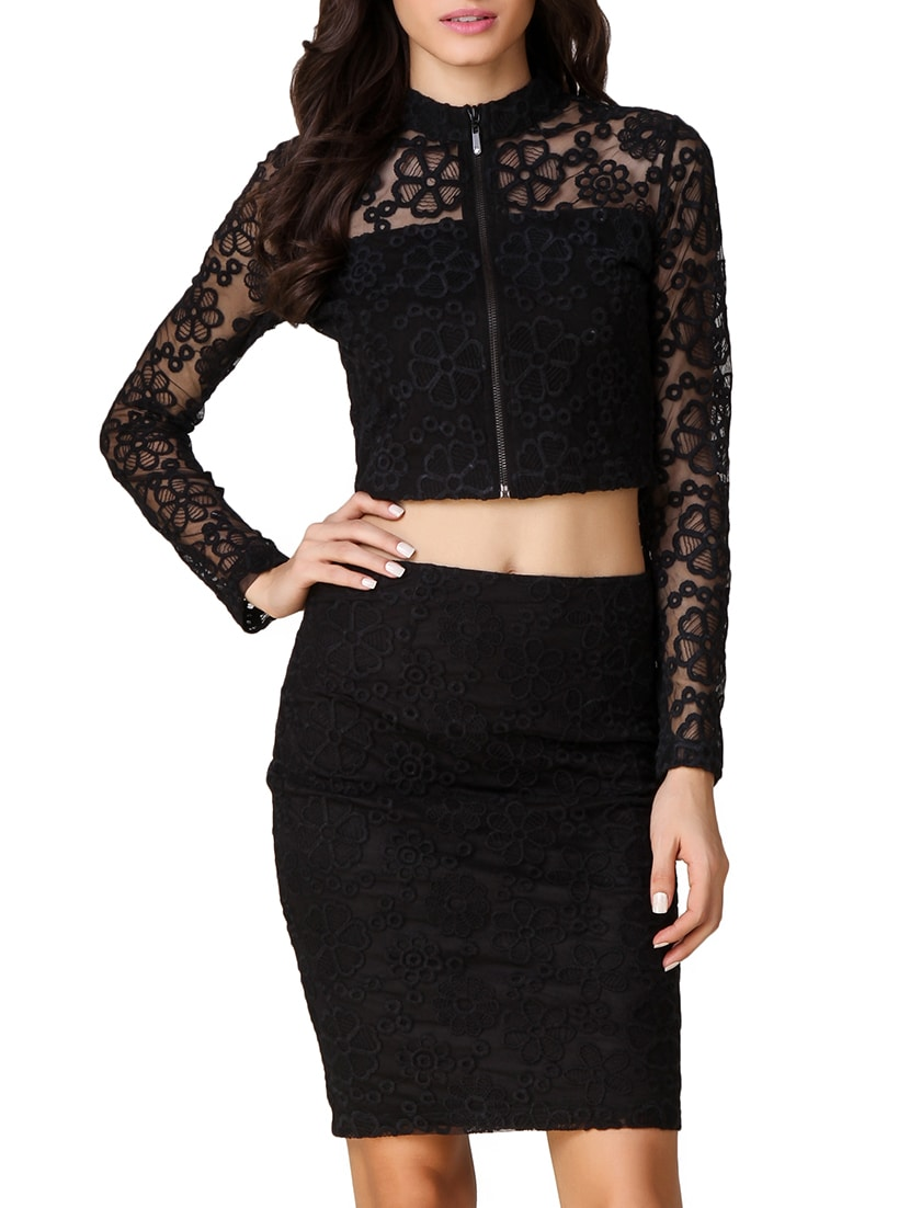 e8dc48c88e226 Buy Embroidered Mesh Zip Up Crop Top for Women from Texco for ₹1246 at 34%  off