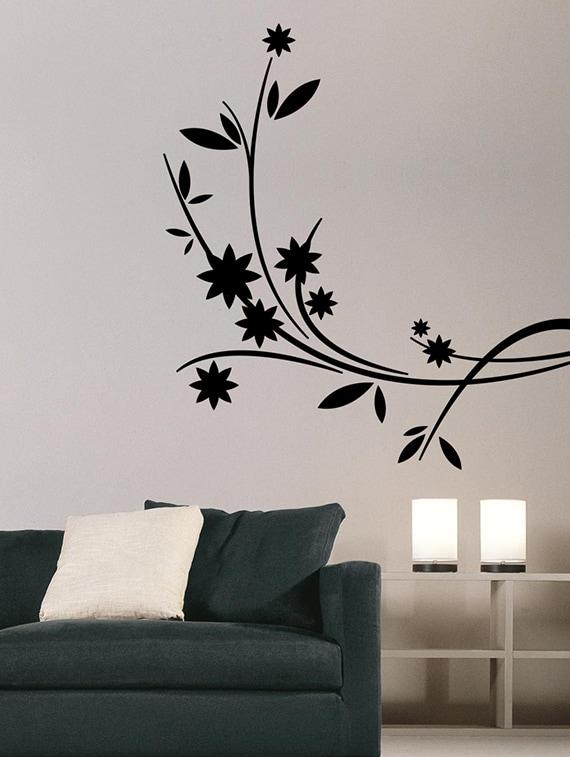 buy black flower branch vinyl wall stickerwalldesign - online