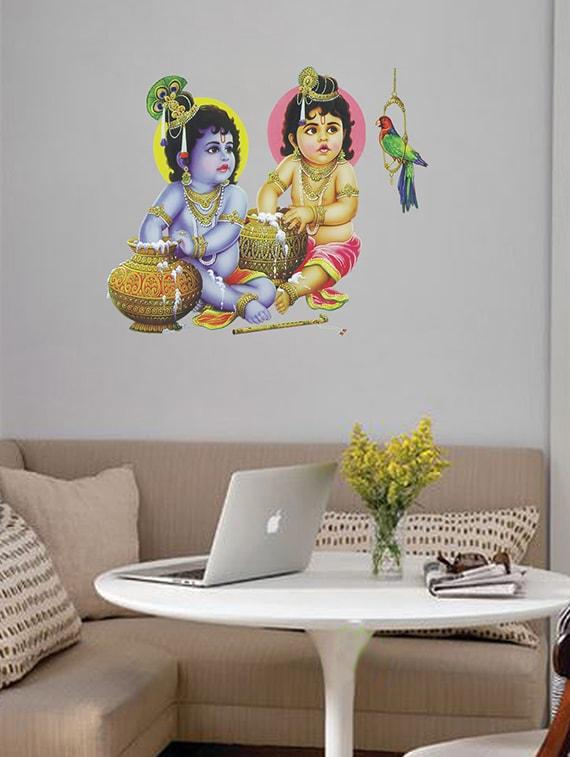 Multicolor Krishna Balaram Fabric Wall Painting