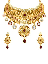 gold brass set (necklace and earrings) -  online shopping for Sets