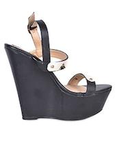 Metal Trim Embellished Straps Wedge Sandals - Flat N Heels