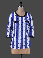 Bird Printed Royal Blue And White Striped Top - TRENDY DIVVA