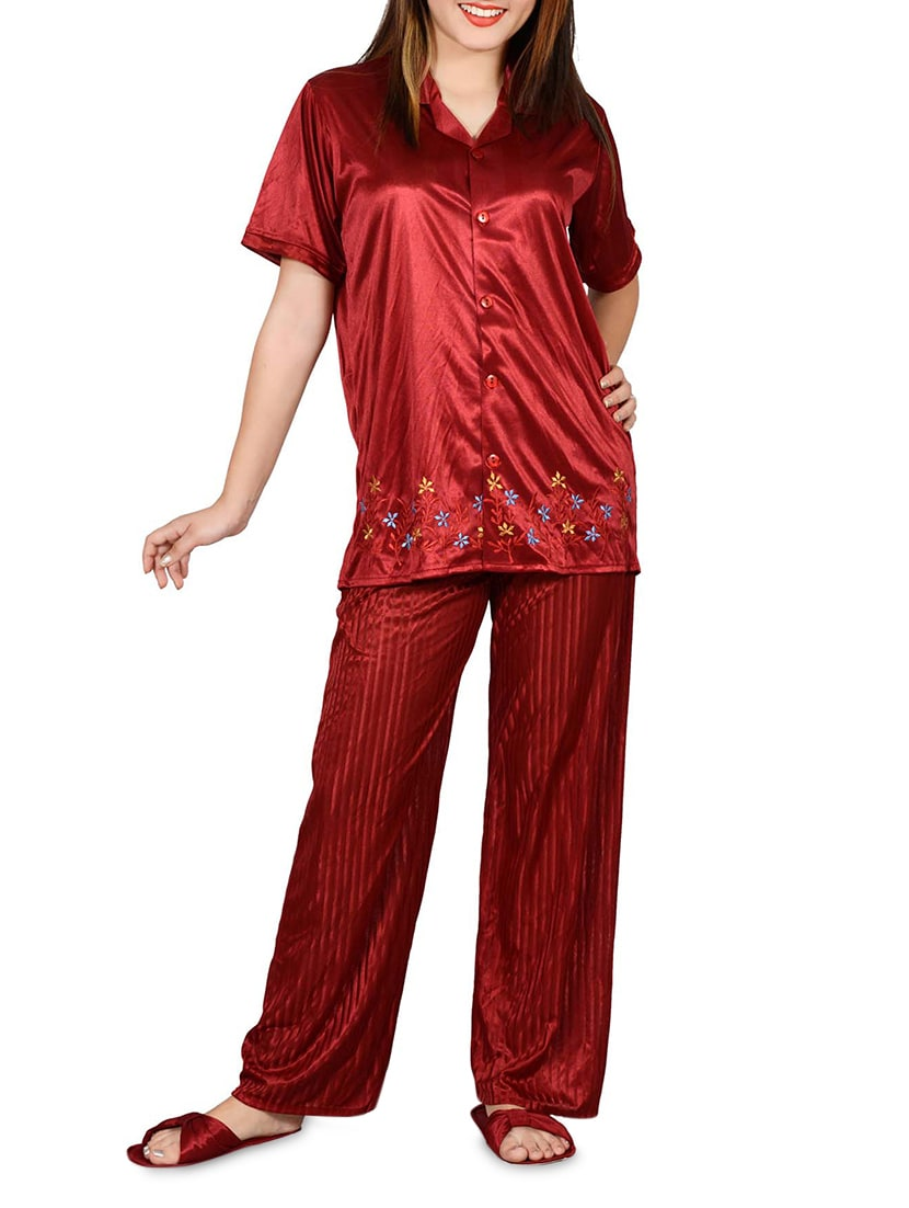 e3056c931c Buy Maroon Satin Night Suit Set by Go Glam - Online shopping for Nightwear  in India