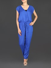 Solid Blue Rayon Jumpsuit - By