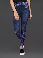 Blue Floral Print Jeggings - By