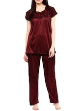 wine red satin nightwear set -  online shopping for nightwear sets