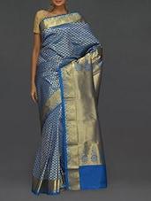 Ethnic Blue Kanjivaram Silk Saree - SareesHut