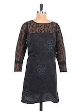 Black Lace Yoke Printed Georgette Shift Dress - RIGOGLIOSO