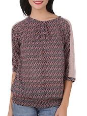 Quarter Sleeves Leaves Printed Poly Georgette Top - Silk Weavers