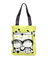 Friends On Swing Printed Tote Bag - Kanvas Katha