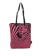 Zebra Printed Leatherette Handle Tote Bag - Kanvas Katha