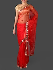 Red Net Saree With Sequined Border - Janasya