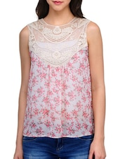 Lace Yoke Floral Printed Sleeveless Top - KARYN