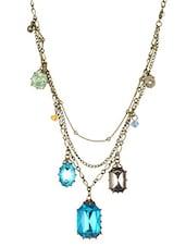Multicolour Stone Metallic Ocean Necklace - By