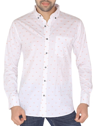 Giza Everest White Jacquard Shirt -  online shopping for casual shirts