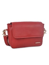 Textured Red Leather Sling Bag - By