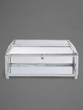 Trapezium Lid Glass Jewellery Box With Nickel Framework - Indian Reverie