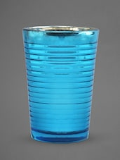 Blue Glass Votive With Mottle Finish - Indian Reverie